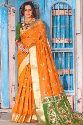 Weaving Work Cotton Silk Designer Saree In Mustard Yellow Color
