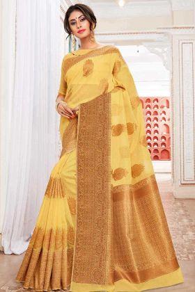 Weaving Work Cotton Silk Wedding Saree Yellow Color