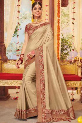 Weaving Work Dila Silk Wedding Saree In Beige Color
