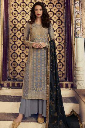 Weaving Work Grey Color Jacquard Silk Palazzo Salwar Kameez