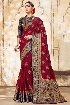 Weaving Work Maroon Color Art Silk Wedding Saree