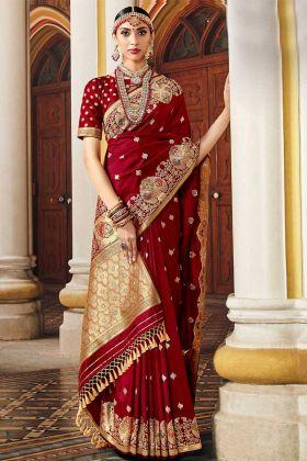 Weaving Work Maroon Color Silk Designer Saree