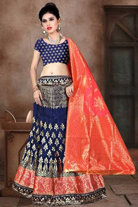 Weaving Work Navy Blue Color Banarasi Jacquard Silk Lehenga Choli