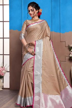 Weaving Work Nylon Art Silk Wedding Saree In Beige Color