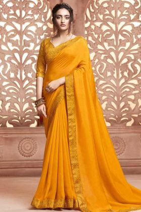Weaving Work On Designer Saree In Satin Silk Yellow Color