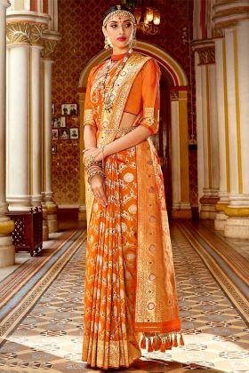 Weaving Work Orange Color Silk Festival Saree