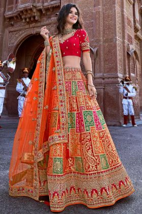 Weaving Work Party Wear Lehenga Choli In Multi Color