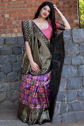 Weaving Work Pink Traditional Saree In Banarasi Patola Silk