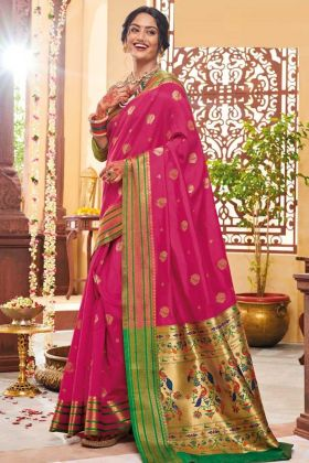 Weaving Work Rani Pink Color Banarasi Art Silk Paithani Saree
