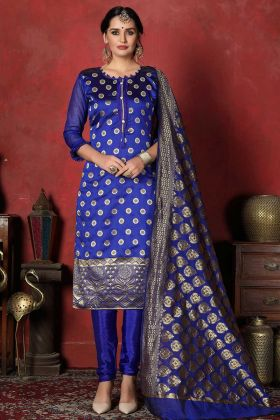 Weaving Work Royal Blue Banarasi Silk Straight Cut Salwar Suit