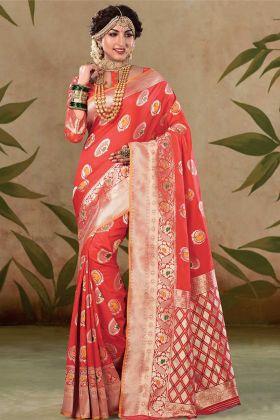 Weaving Work Satin Silk Red Saree