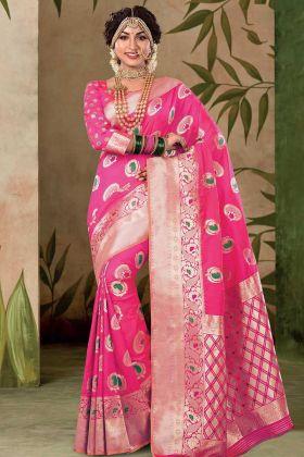 Weaving Work Satin Silk Saree In Rani Pink Color