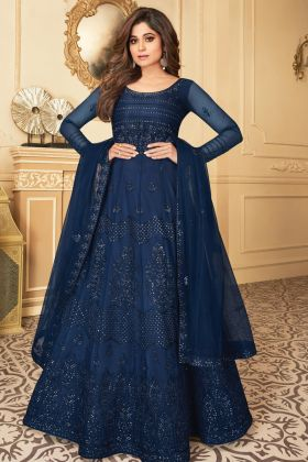 Wedding Collection Butterfly Net Navy Blue Color Anarkali Suit