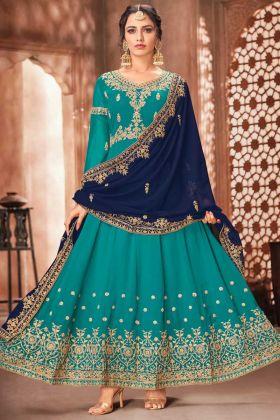 Wedding Collection Georgette Rama Color Heavy Anarkali Suit