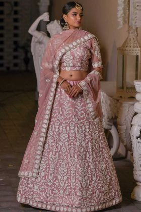 Wedding Collection In Baby Pink Color Net Fabric Lehenga Choli