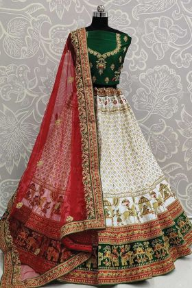 Wedding Collection Satin White Color Bridal Lehenga Choli