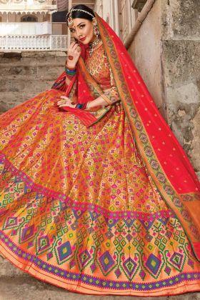 Wedding Designer Banarasi Silk Multi Color Bridal Lehenga Choli