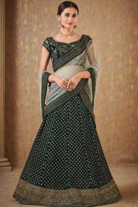 Wedding Designer Green Naylon Satin Designer Lahengha