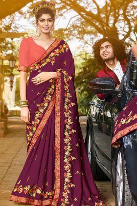Wedding Gift Sari Art Silk With Unstitched Blouse