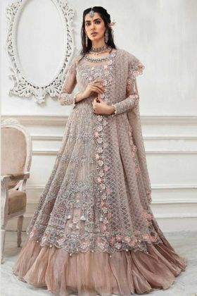 Wedding Heavy Designer Light Brown Butterfly Net Suit