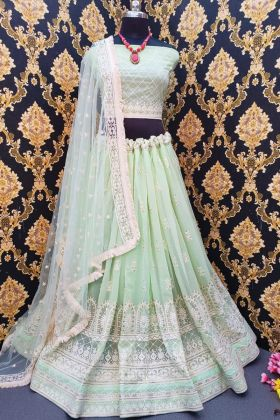 Wedding Heavy Georgette Lehenga Design At 2021 In Pista Color