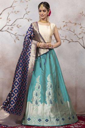 Wedding Lehenga Choli In Jacqaurd Silk Blue Color
