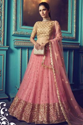 Wedding Net Lehenga Choli In Pink Color With Sequance Work