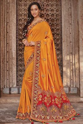 Wedding New Saree Design With Mustard Yellow Color Raw Silk And Dupion