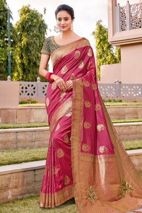 Wedding New Saree Design With Rani Color Weaved Silk Fabric