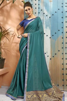 Wedding Saree Georgette In Teal Color