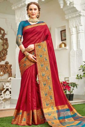 Wedding Saree Weaving Work Handloom Silk In Red