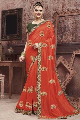 Wedding Season With Soft Art Silk Saree Orange Color