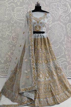 Wedding Special Baby Blue Net Designer Lehenga Choli With Net Dupatta