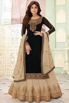 Wedding Special Black Pure Georgette Lehenga Dresses