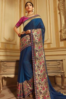 Wedding Special Navy Blue Two Tone Barfi Silk Designer Saree