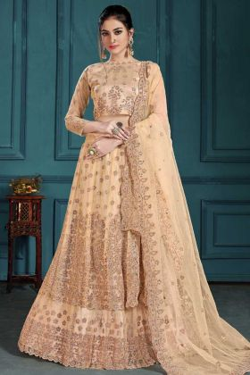 Wedding Special Net Moti Zarkan Work Beige Lehenga Choli