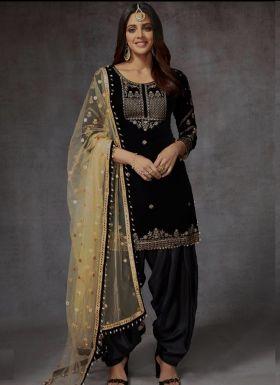 Wedding Style Black Patiala Dress