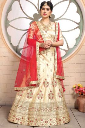 Wedding Wear Beige Pure Satin Designer Lehenga Choli