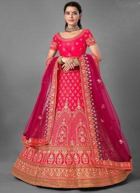 Wedding Wear Dark Pink Lehenga Choli
