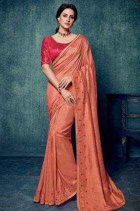 Wedding Wear Dola Silk Peach Color Saree Collection