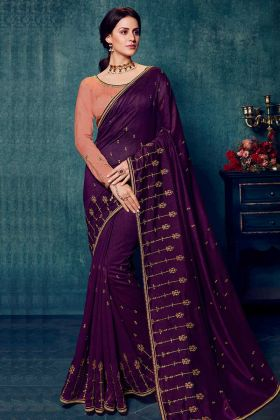Wedding Wear Dola Silk Wine Color Saree Design