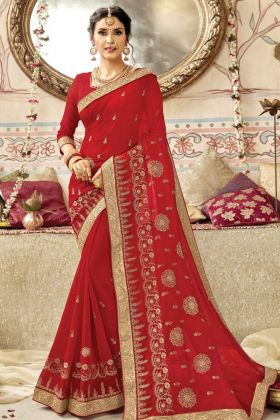 Wedding Wear Georgette Red Embroidery Saree