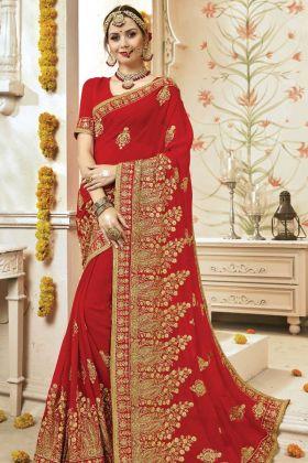 Wedding Wear Georgette Red Saree Online