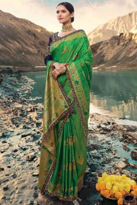 Wedding Wear Green Color Raw Silk Saree