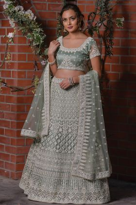 Wedding Wear Grey Color Designer Wedding Wear Net Lehenga Choli