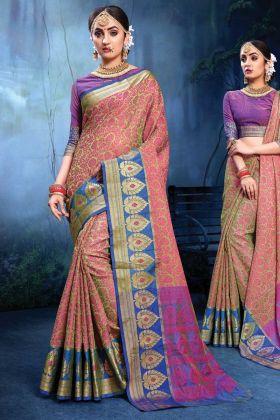 Wedding Wear Light Green & Pink Color Saree
