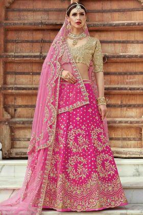 Wedding Wear Magenta Art Silk Lehenga Choli