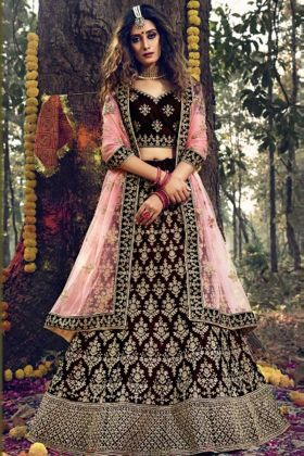 Wedding Wear Maroon Color Pure Velvet Lehenga Choli With Stone Dori Work