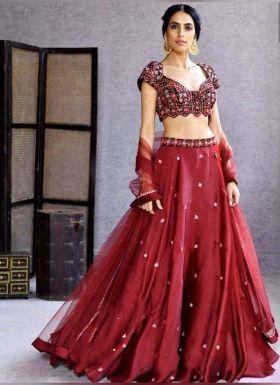 Wedding Wear Maroon Embroidered Lehenga Choli