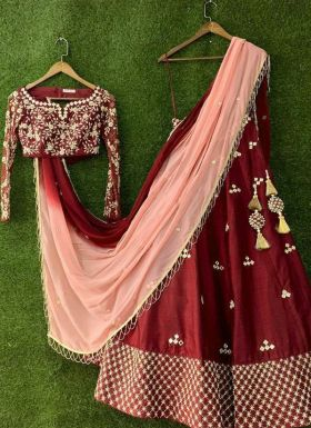Wedding Wear Maroon Slub Silk Lehenga Choli